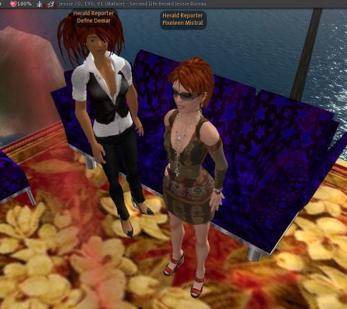 Defne Demar joins Pixeleen Mistral at Herald HQ in Jessie sim