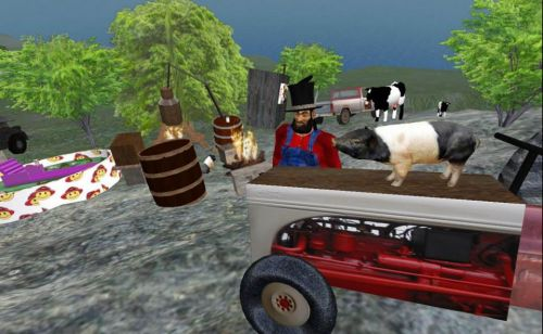 pigs, tractors, moonshine and Pappy - good nieghbors!