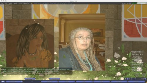 photograph of Carmen and one of her avatars at the memorial service in Shivar