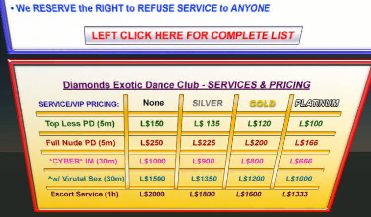 A price list for escort services at Club Diamonds. Picture taken August  23rd of this year.